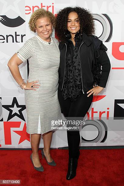 Chairman and CEO of BET Networks Debra L. Lee and singer Alicia Keys attend BET Networks 2016 Upfront at Rose Hall at Jazz at Lincoln Center on April...