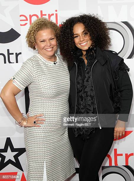Chairman and CEO of BET Networks Debra L Lee and singer Alicia Keys attend BET Networks 2016 Upfront at Rose Hall at Jazz at Lincoln Center on April...