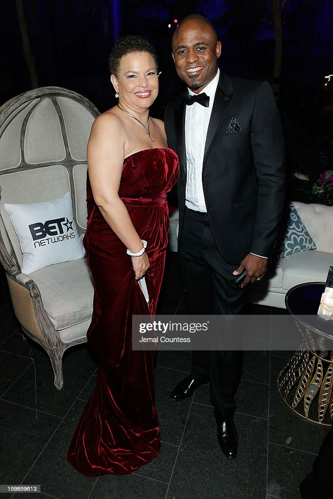 Chairman and CEO of BET Networks Debra Lee (L) and comedian Wayne Brady attend the Inaugural Ball hosted by BET Networks at Smithsonian American Art Museum & National Portrait Gallery on January 21, 2013 in Washington, DC.