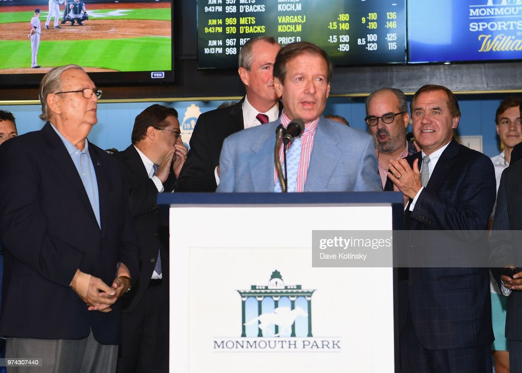 Chairman and CEO of Darby Development / Operator of Monmouth Park Dennis Drazin speaks during the William Hill Sports Book at Monmouth Park as it opens and welcomes public to place first legal sports bets on June 14, 2018 in Oceanport, New Jersey.