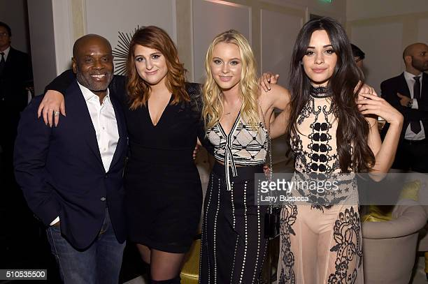 Chairman and CEO of Epic Records LA Reid and recording artists Meghan Trainor Zara Larsson and Camila Cabello of Fifth Harmony attend Sony Music...