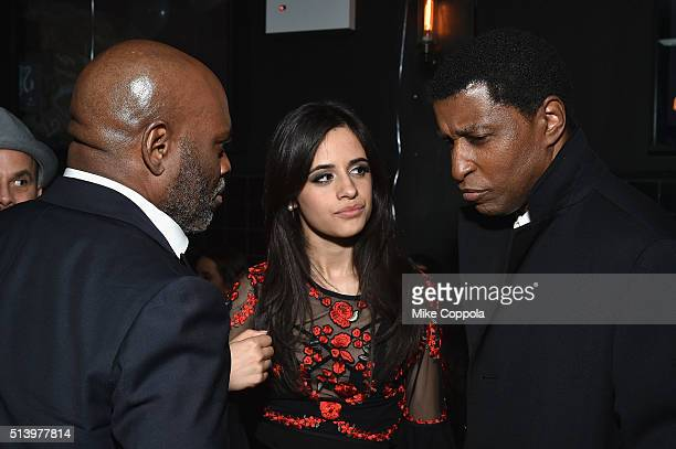 Chairman and CEO of Epic Records LA Reid musician Camila Cabello and Babyface attend Camila Cabello's surprise 19th birthday at Black Tap on March 5...