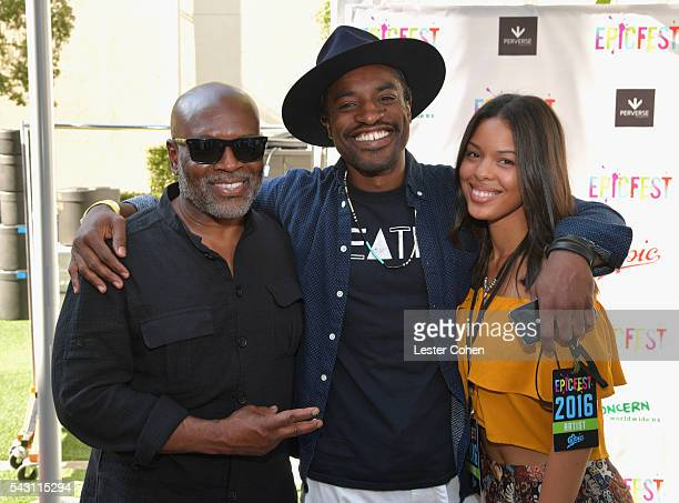 Chairman and CEO of Epic Records LA Reid recording artist Andre 3000 and Dominique Maldonado attend EpicFest 2016 hosted by LA Reid and Epic Records...