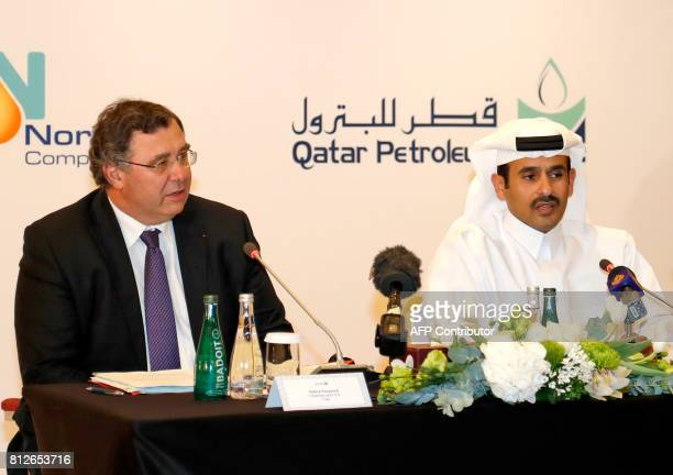 Chairman and CEO of French energy company Total Patrick Pouyanne and President and Chief Executive Officer of Qatar Petroleum Saad Sherida alKaabi...
