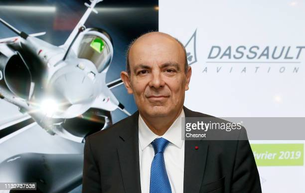 Chairman and CEO of French group Dassault Aviation Eric Trappier poses for photographs prior to the presentation of Dassault Aviation's 2018 annual...