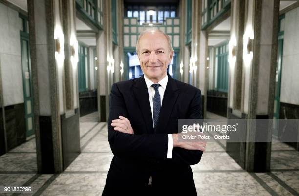 Chairman and CEO of French group L'Oreal Jean Paul Agon posing on November 20 2017 in BrusselsBelgium