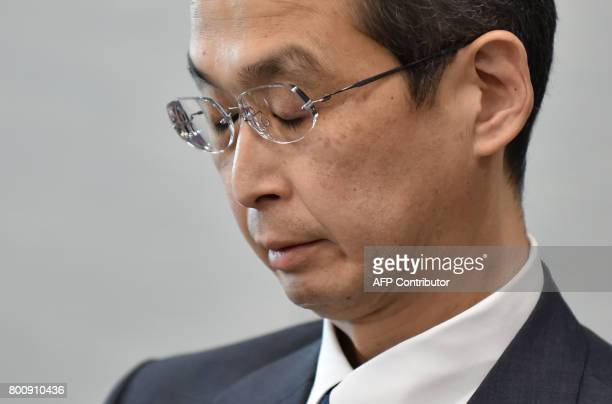 Chairman and CEO of Japanese airbag maker Takata Corp Shigehisa Takada attends a press conference in Tokyo on June 26 2017 Japan's crisishit car...