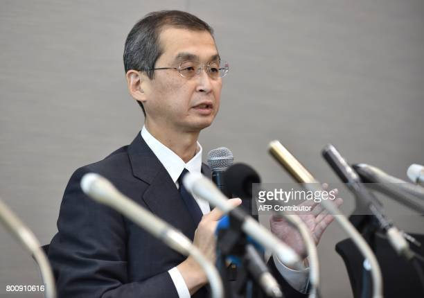 Chairman and CEO of Japanese airbag maker Takata Corp Shigehisa Takada speaks during a press conference in Tokyo on June 26 2017 Japan's crisishit...