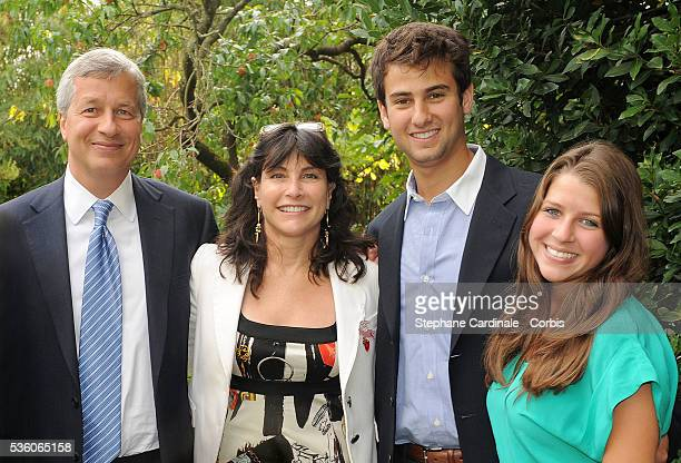 Chairman and CEO of JP Morgan Chase Jamie Dimon his wife Judith Kent Dimon their daughter and a friend attend the Lacoste and JP Morgan cocktail at...