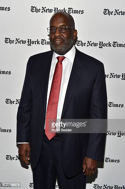 Chairman and CEO of Kaiser Permanente Bernard J Tyson poses backstage at The New York Times DealBook Conference at Jazz at Lincoln Center on November...