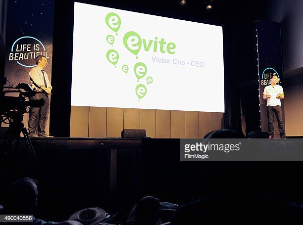 Chairman and CEO of KCOMM Sinan Kanatsiz and Zappos CEO Tony Hsieh speak onstage during day 1 of the 2015 Life is Beautiful festival on September 25...