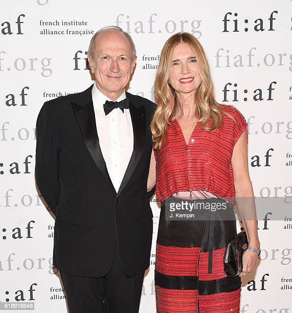 Chairman and CEO of L'Oreal JeanPaul Agon and wife Sophie Scheidecker attend the 2016 Trophee Des Arts Gala at The Plaza Hotel on October 28 2016 in...