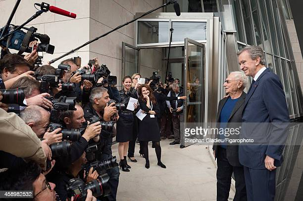 Chairman and CEO of LVMH Bernard Arnault and architect Frank Gehry are photographed for Le Figaro Magazine on October 17 2014 in Paris France At the...