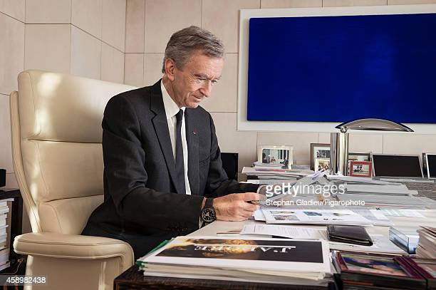 Chairman and CEO of LVMH Bernard Arnault is photographed for Le Figaro Magazine on October 1 2014 in his office in Paris France On the wall a...