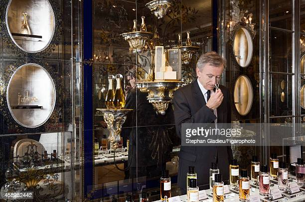 Chairman and CEO of LVMH, Bernard Arnault is photographed for Le Figaro Magazine on October 1, 2014 during a visit to the Dior store on avenue...