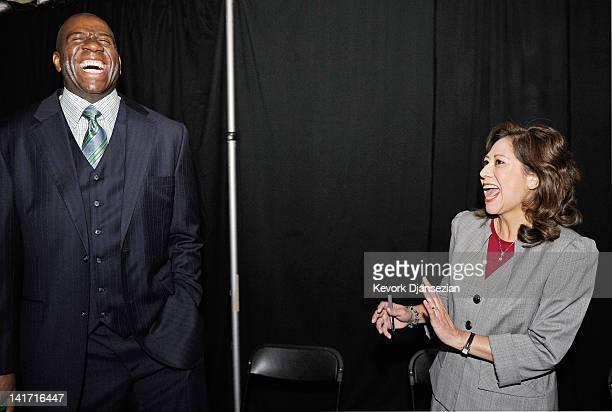 Chairman and CEO of Magic Johnson Enterprises Earvin Magic Johnson and US Department of Labor Secretary Hilda Solis laugh during a Urban Economic...