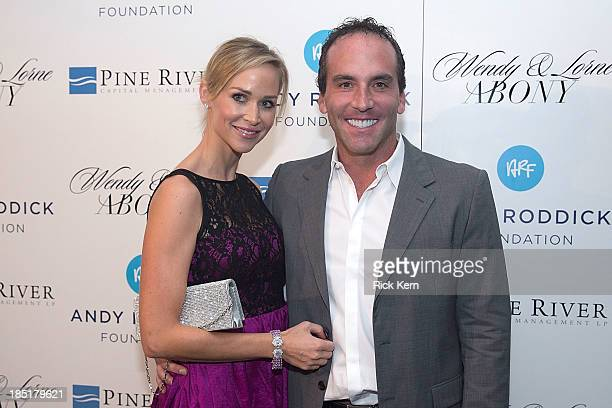 Chairman and CEO of Mood Media Lorne Abony and his wife Wendy Abony arrive at the 8th Annual Andy Roddick Foundation Gala at ACL Live on October 17...
