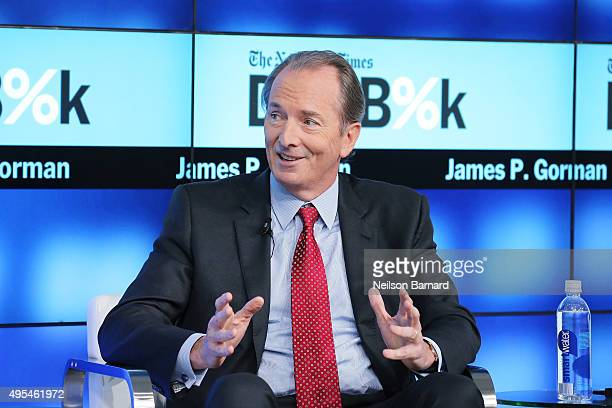 Chairman and CEO of Morgan Stanley James P Gorman participates in a panel discussion at the New York Times 2015 DealBook Conference at the Whitney...