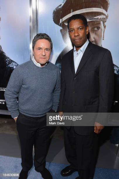 Chairman and CEO of Paramount Pictures Brad Grey and actor Denzel Washington arrive to the Premiere of Paramount Pictures' Flight at ArcLight Cinemas...