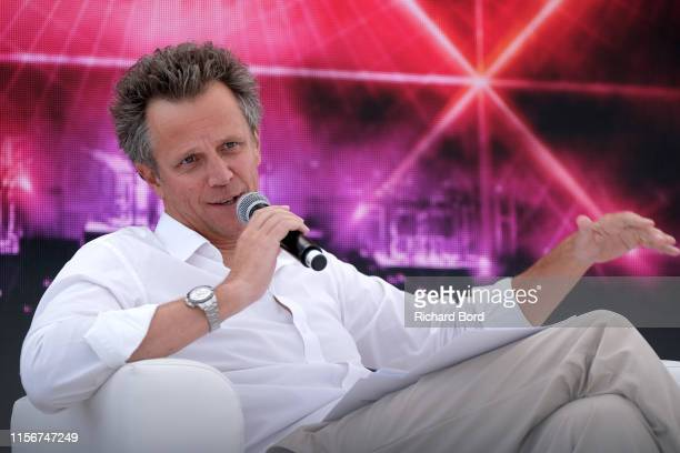 Chairman and CEO of Publicis Groupe Arthur Sadoun speaks on stage during JeanMichel Jarre X HSBC session at the Cannes Lions 2019 Day Two on June 18...