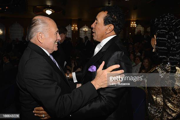 "Chairman and CEO of Sony Music Entertainment Doug Morris and performer and record producer Smokey Robinson attend ""Motown: The Musical"" Opening Night..."