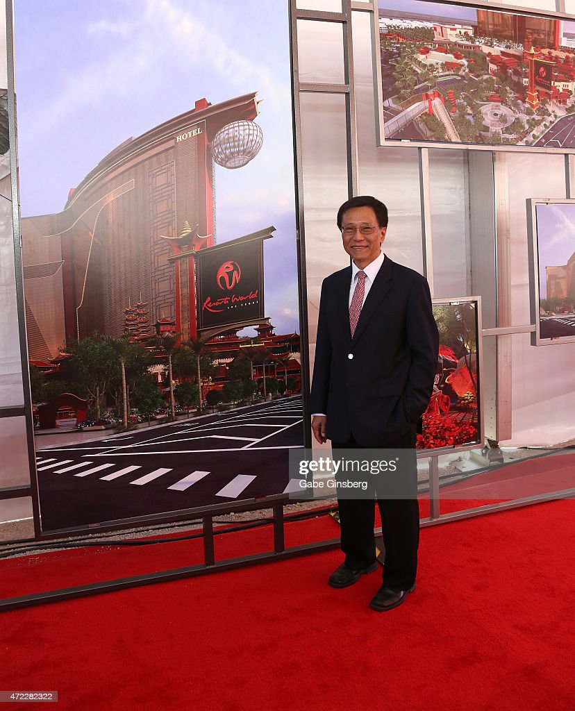 Chairman and CEO of the Genting Group K.T. Lim stands next to an artists's rendering of Resorts World Las Vegas during the Genting Group's ceremonial groundbreaking for Resorts World Las Vegas on May 5, 2015 in Las Vegas, Nevada. The USD 4 billion property on the Las Vegas Strip is expected to open in 2018 on the site of the former Stardust Resort & Casino.