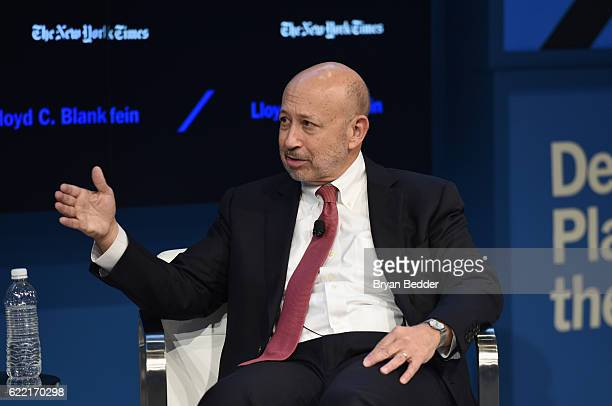 Chairman and CEO of The Goldman Sachs Group Inc Lloyd C Blankfein speaks at The New York Times DealBook Conference at Jazz at Lincoln Center on...