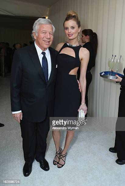 Chairman and CEO of The Kraft Group Robert Kraft and actress Ricki Noel Lander attend Grey Goose at 21st Annual Elton John AIDS Foundation Academy...