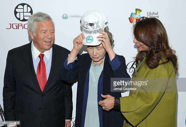 Chairman and CEO of the Kraft Group Robert Kraft and Mrs Ban Soontaek wife of UN Secretary General Ban Kimoon attend the UN Women For Peace...