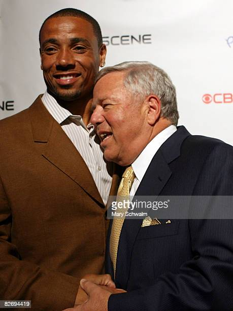 Chairman and CEO of The Kraft Group Robert Kraft is seen with Rodney Harrison as they attended the grand opening of the CBS Scene Restaurant Bar on...