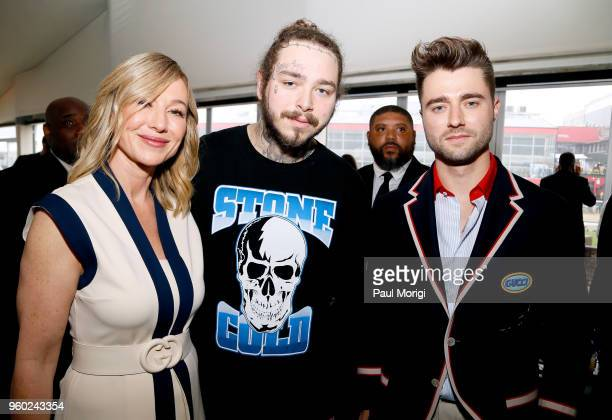 Chairman and CEO of The Stronach Group Belinda Stronach musical artist Post Malone and DJ Frank Walker attend The Stronach Group Chalet at 143rd...