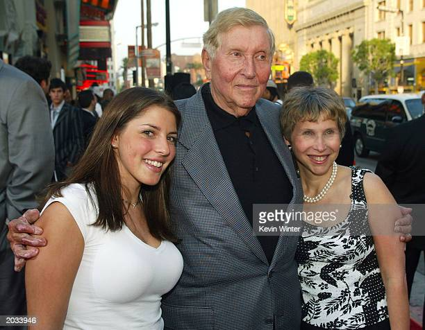 """Chairman and CEO of Viacom Sumner Redstone arrives with his daughter Shari and his grandaughter Kim at the premiere of """"The Italian Job"""" at the..."""