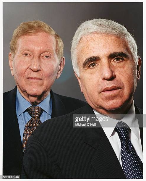 Chairman and CEO of Viacom Sumner Redstone stands with the company's president and chief operating officer Mel Karmazin