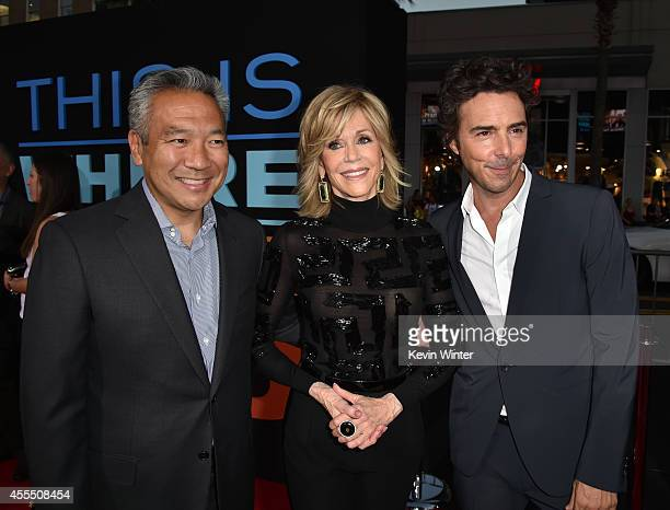 Chairman and CEO of Warner Bros Entertainment Kevin Tsujihara actress Jane Fonda and director/producer Shawn Levy arrive at the premiere of Warner...