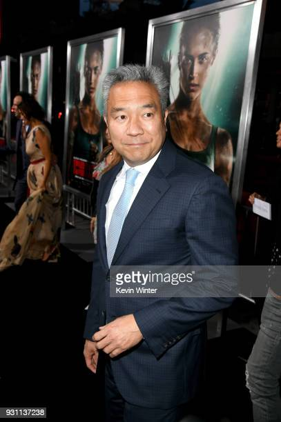 Chairman and CEO of Warner Bros Entertainment Kevin Tsujihara attends the premiere of Warner Bros Pictures' Tomb Raider at TCL Chinese Theatre on...