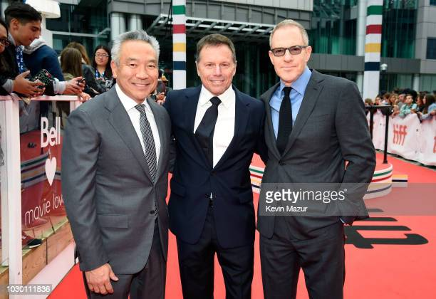 Chairman and CEO of Warner Bros Entertainment Kevin Tsujihara Bill Gerber and Chairman Warner Bros Pictures Group Toby Emmerich attend the A Star Is...