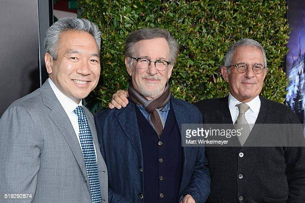 Chairman and CEO of Warner Bros Entertainment Kevin Tsujihara director Steven Spielberg and vice chairman of NBC Universal Ron Meyer attend Universal...