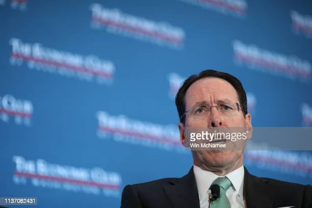 Chairman and CEO Randall Stephenson answers questions during a luncheon held by the Economic Club of Washington DC March 20 2019 in Washington DC...