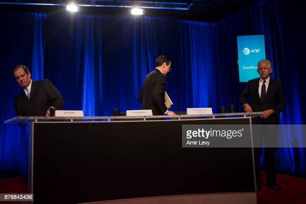 Chairman and CEO Randall Stephenson O'Melveny Myers counsel Daniel M Petrocelli and ATT Senior Executive Vice President David R McAtee II leave after...