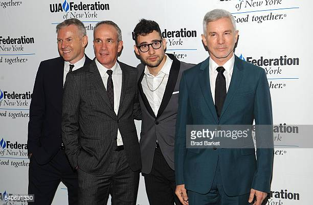 Chairman and CEO RCA Records Peter Edge Tom Corson Jack Antonoff and Baz Luhrmann attend the 2016 UJAFederation Of New York's Music Visionary Of The...