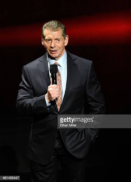 Chairman and CEO Vince McMahon speaks at a news conference announcing the WWE Network at the 2014 International CES at the Encore Theater at Wynn Las...