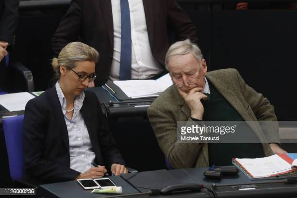 Chairman and Chairwoman of the Far Right Party and Alice Weidel and Alexander Gauland listen as Food and Agriculture Minister: Julia Kloeckner, ,...