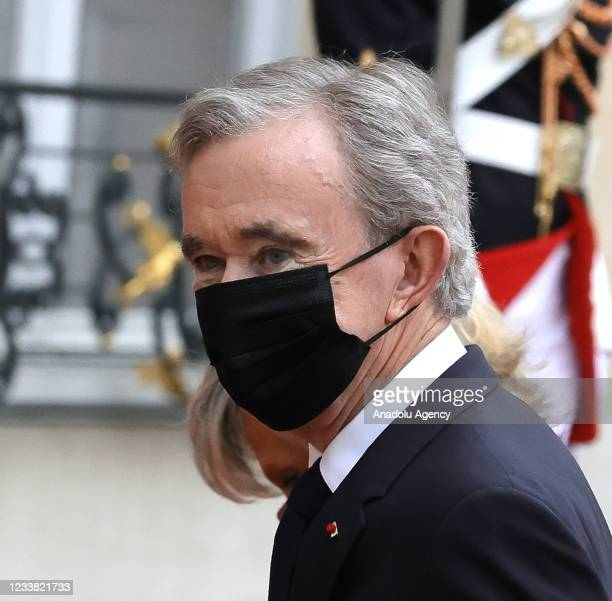 Chairman and Chief Executive of LVMH Bernard Arnault arrives for a state dinner with the French President Emmanuel Macron and the Italian President...