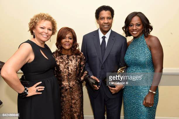 Chairman and Chief Executive Officer of BET Debra Lee actor Cicely Tyson honoree Denzel Washington and actor Viola Davis pose with the Hollywood...