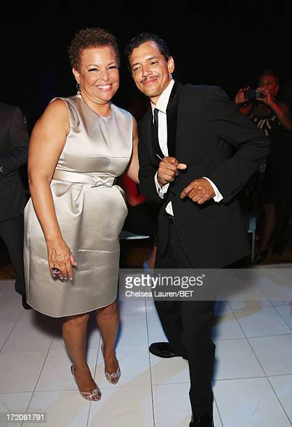 Chairman and Chief Executive Officer of BET Debra Lee and singer El DeBarge attend the Post Reception during the 2013 BET Awards at J.W. Marriot at...