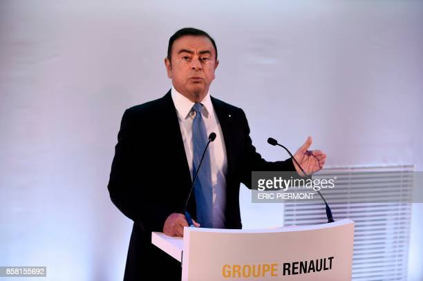Chairman and Chief Executive Officer of French carmaker Renault Carlos Ghosn addresses a press conference to present the automobile company's 5year...
