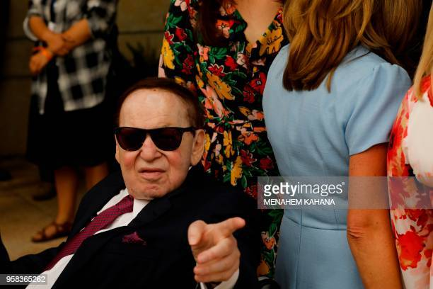 Chairman and chief executive officer of the Las Vegas Sands Corporation Sheldon Adelson arrives ahead of the inauguration of the US embassy in...