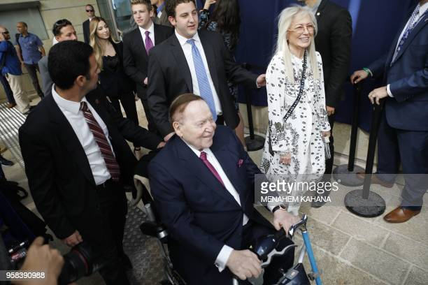 Chairman and chief executive officer of the Las Vegas Sands Corporation Sheldon Adelson and his wife Miriam Ochsorn arrive ahead of the inauguration...