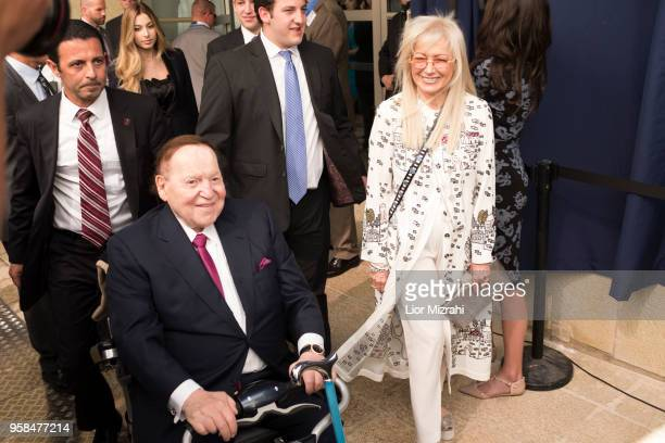 Chairman and chief executive officer of the Las Vegas Sands Corporation Sheldon Adelson and his wife Miriam arrive to the opening of the US embassy...