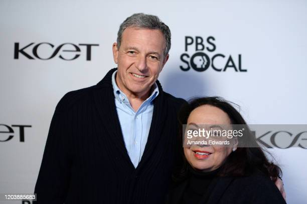 Chairman and Chief Executive Officer of The Walt Disney Company Robert Iger and writer Karen E Hudson arrive at the premiere of the PBS SoCal...